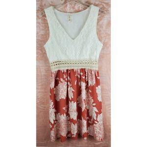 My beloved v neck lace sleeveless dress